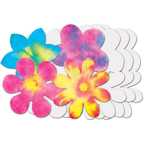 """Roylco Color Diffusing Paper Flowers - Learning Theme/Subject - 9"""" (228.6 mm) Diameter - 80 / Pack"""