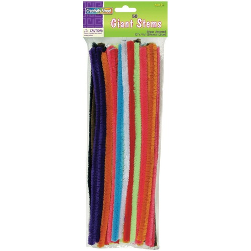 """Creativity Street Giant Stems - Fun and Learning - 50 Piece(s) x 12"""" (304.80 mm)Length x 0.47"""" (12 mm)Diameter - 50 / Pack - Assorted"""
