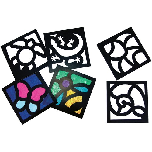 """Roylco Junior Stained Glass Frames - Art, Fun and Learning, Decoration - Recommended For 4 Year - 6"""" (152.40 mm)Width x 6"""" (152.40 mm)Length - 24 / Pack"""