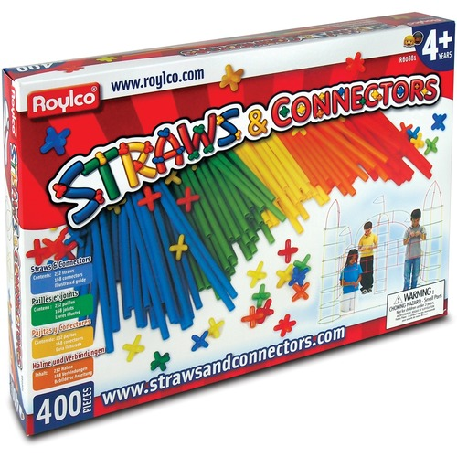 Roylco Straws And Connectors - Fun and Learning, Building Shapes - Recommended For 4 Year - 400 Piece(s)