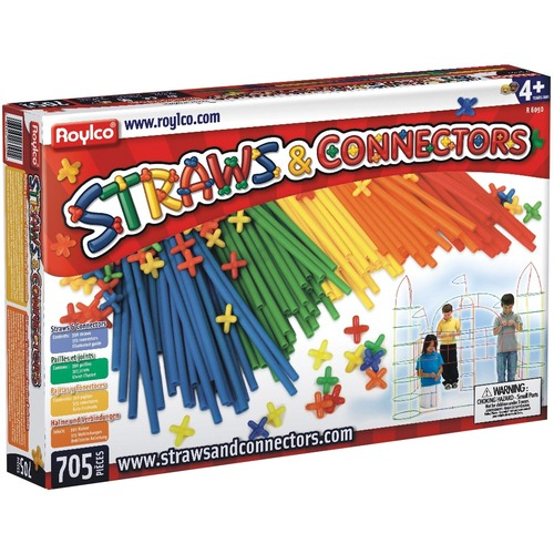 Roylco Straws And Connectors - Fun and Learning, Building Shapes - Recommended For 4 Year - 705 Piece(s)