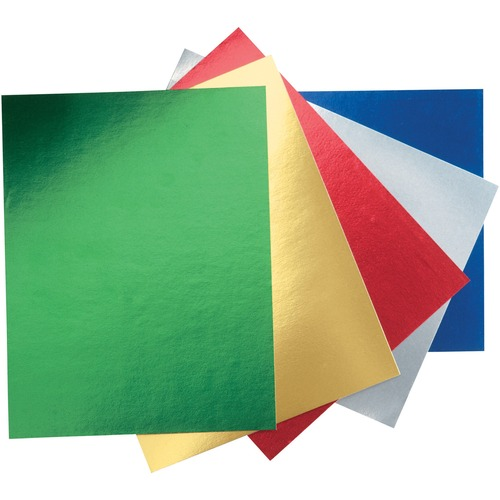 """Pacon Metallic Foil Board - Art, Holiday Craft, Poster, Sign, Decoration - 22"""" (558.80 mm)Width x 28"""" (711.20 mm)Length - 5 / Pack - Green, Gold, Red, Silver, Blue"""