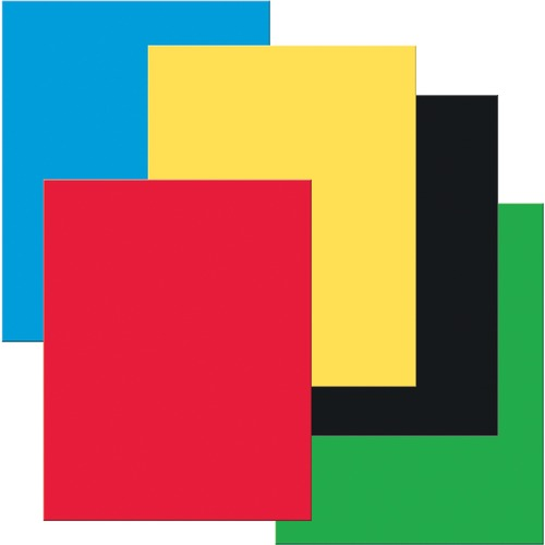 """UCreate Premium Coated Poster Board - Poster, Sign, Printing - 22"""" (558.80 mm)Width x 28"""" (711.20 mm)Length - 25 / Pack - Black, Blue, Yellow, Red, Green"""