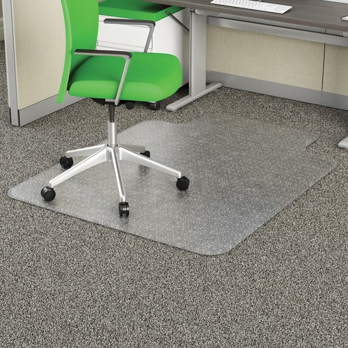"""Deflecto Earth Source 45x53 EconoMat Mat with Lip - Commercial, Carpet, Office - 53"""" Length x 45"""" Width x 0.10"""" Thickness - Clear"""