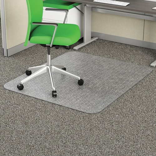 """Deflecto Earth Source 36x48 EconoMat Chair Mat - Commercial, Carpet - 48"""" Length x 36"""" Width x 0.10"""" Thickness - Rectangle - Clear"""