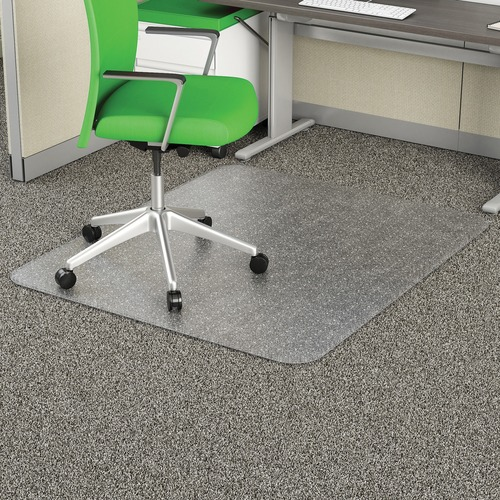 """Deflecto Earth Source 46x60 EconoMat Chair Mat - Commercial, Carpet - 60"""" Length x 46"""" Width x 0.10"""" Thickness - Rectangle - Clear"""