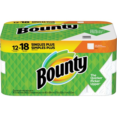 Bounty Full Sheets Paper Towels - 2 Ply - 54 Sheets/Roll - White - Absorbent, Durable, Strong - For Kitchen - 12 Rolls Per Pack - 648 / Pack