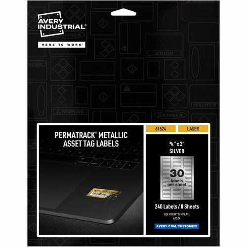 "Avery® PermaTrack(TM) Metallic Asset Tag Labels, 3/4"" x 2"", 240 Asset Tags (61524)"