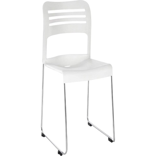 "Eurotech Flamingo Stack Chair - White Plastic Seat - White Back - Steel Frame - 17.63"" Seat Width x 18.42"" Seat Depth - 20.1"" Width x 21.7"" Depth x 31"