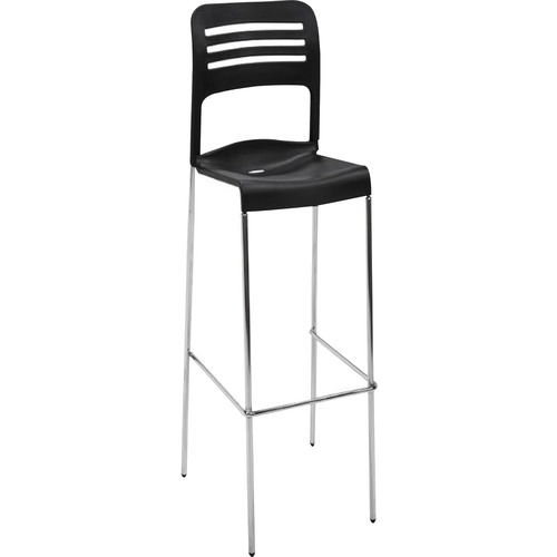 Eurotech Flamingo Stool - Black Plastic Seat - Black Back - Steel Frame - 2 / Carton