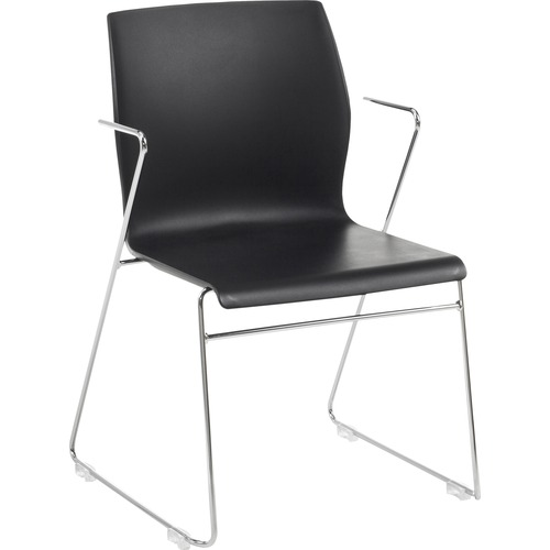 "Eurotech Faze Armless Stack Chair - Black Plastic Seat - Black Back - Steel Frame - 17.70"" Seat Width x 17.50"" Seat Depth - 21.7"" Width x 21.9"" Depth"