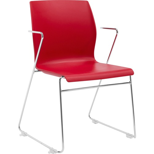 "Eurotech Faze Armless Stack Chair - Red Plastic Seat - Red Back - Steel Frame - 17.70"" Seat Width x 17.50"" Seat Depth - 21.7"" Width x 21.9"" Depth x 32"
