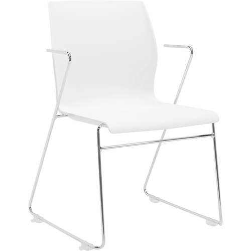 "Eurotech Faze Armless Stack Chair - White Plastic Seat - White Back - Steel Frame - 17.70"" Seat Width x 17.50"" Seat Depth - 21.7"" Width x 21.9"" Depth"