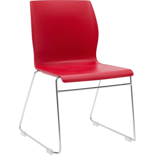 "Eurotech Faze Stack Chair - Red Plastic Seat - Red Back - Steel Frame - 17.70"" Seat Width x 17.50"" Seat Depth - 22.5"" Width x 21.9"" Depth x 32.5"" Heig"