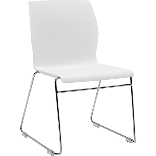 "Eurotech Faze Stack Chair - White Plastic Seat - White Back - Steel Frame - 17.70"" Seat Width x 17.50"" Seat Depth - 22.5"" Width x 21.9"" Depth x 32.5"""