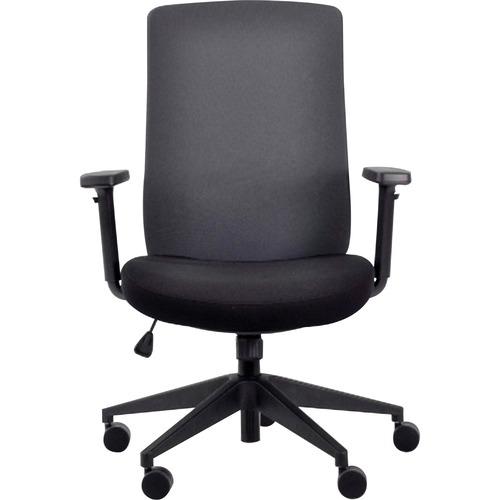 Eurotech Gene Fabric Seat/Back Executive Chair - Black Fabric Seat - Chrome Fabric Back - 5-star Base - 1 Each