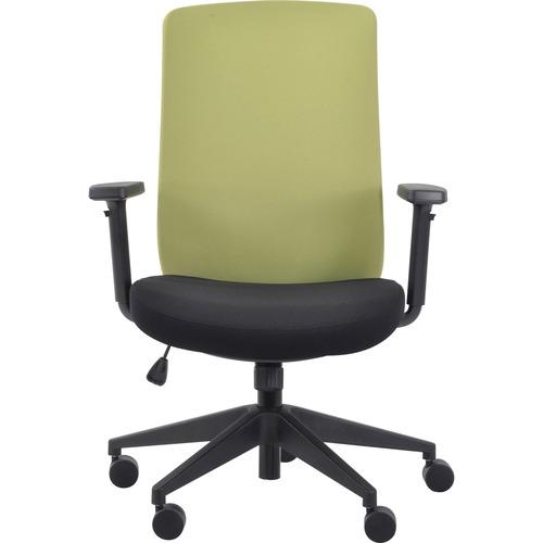 Eurotech Gene Fabric Seat/Back Executive Chair - Black Fabric Seat - Lime Fabric Back - 5-star Base - 1 Each
