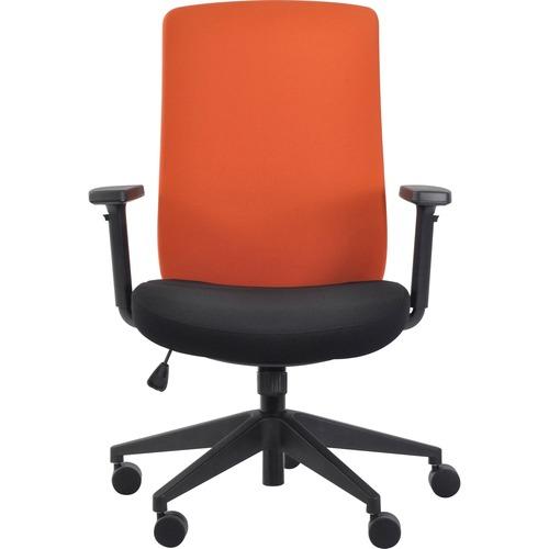 Eurotech Gene Fabric Seat/Back Executive Chair - Black Fabric Seat - Orange Fabric Back - 5-star Base - Orange - 1 Each