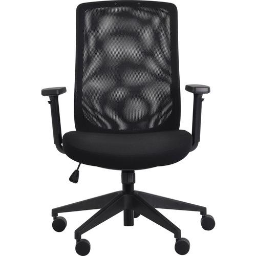 Eurotech Gene Mesh Back Executive Chair - Black Fabric Seat - Black Mesh Back - 5-star Base - 1 Each