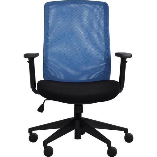 Eurotech Gene Mesh Back Executive Chair - Black Fabric Seat - Blue Mesh Back - 5-star Base - 1 Each