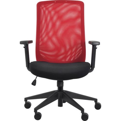Eurotech Gene Mesh Back Executive Chair - Black Fabric Seat - Red Mesh Back - 5-star Base - 1 Each