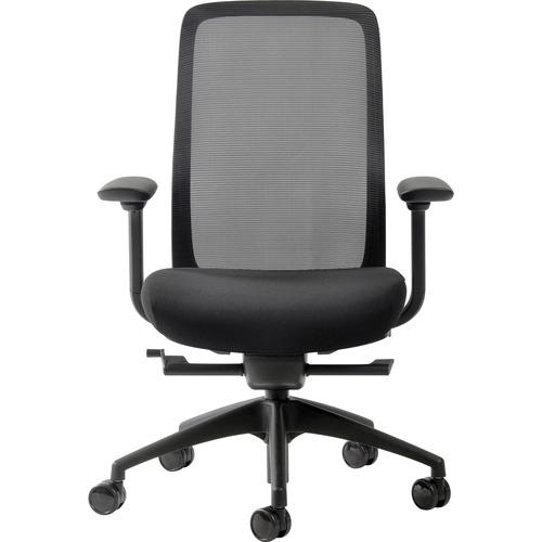Eurotech Vera Mesh Back Executive Chair - Black Fabric Seat - Mesh Back - 5-star Base - Black - 1 Each