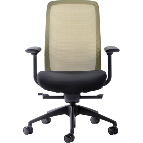 Eurotech Vera Mesh Back Executive Chair - Black Fabric Seat - Mesh Back - 5-star Base - Black, Gold - 1 Each