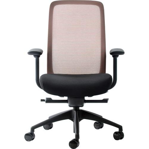 Eurotech Vera Mesh Back Executive Chair - Black Fabric Seat - Mesh Back - 5-star Base - Black, Red - 1 Each