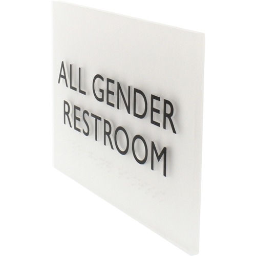 """Lorell Restroom Sign - 1 Each - 4.5"""" Width x 6.8"""" Height - Easy Readability, Braille - Light Gray"""