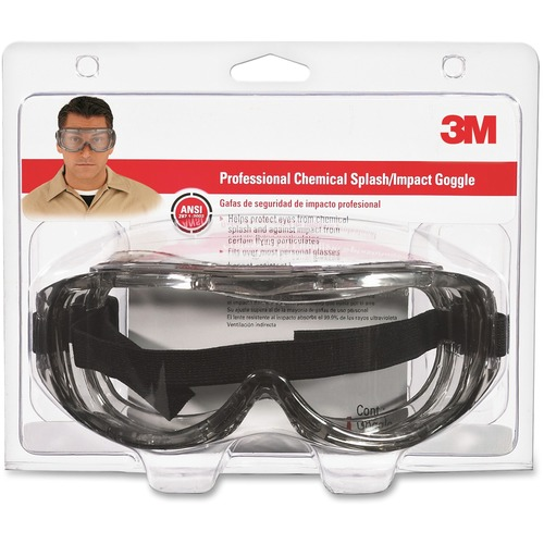 3M Chemical Splash/Impact Goggles - Wraparound Lens, Flame Resistant, Adjustable Headband, Vented, Lightweight, Comfortable, Anti-fog - Particulate, A
