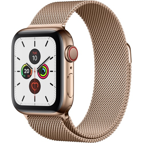 Apple Watch Series 5 Smart Watch - Wrist Wearable - Gold Case - Gold Band - Stainless Steel Case - Cellular Phone Capability - LTE, UMTS