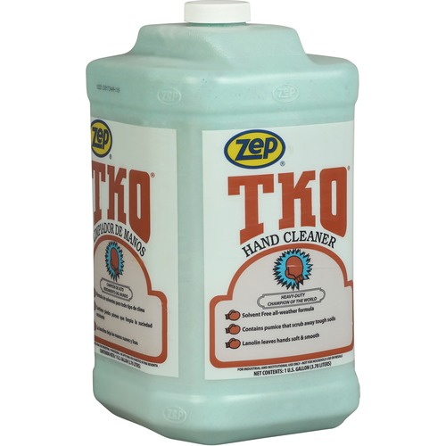 Zep TKO Hand Cleaner - Lemon Lime Scent - 1 gal (3.8 L) - Dirt Remover, Grime Remover, Grease Remover - Hand - Opaque - Heavy Duty, Solvent-free - 1 Each