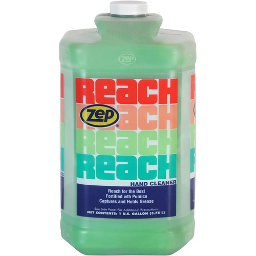 Zep Reach Hand Cleaner - Almond Scent - 1 gal (3.8 L) - Soil Remover, Grease Remover, Grime Remover, Ink Remover, Resin Remover, Adhesive Remover, Tar Remover, Carbon Remover, Asphalt Remover, Oil Remover - Hand - Light Green, Opaque - Phosphate-free, Res