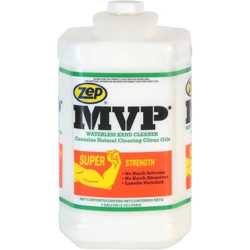 Zep MVP Waterless Hand Cleaner - 1 gal (3.8 L) - Soil Remover, Dirt Remover, Grease Remover, Grime Remover, Ink Remover, Tar Remover, Carbon Remover, Resin Remover, Adhesive Remover, Oil Remover, Paint Remover, ... - Hand - Milky White - Petroleum Free, P