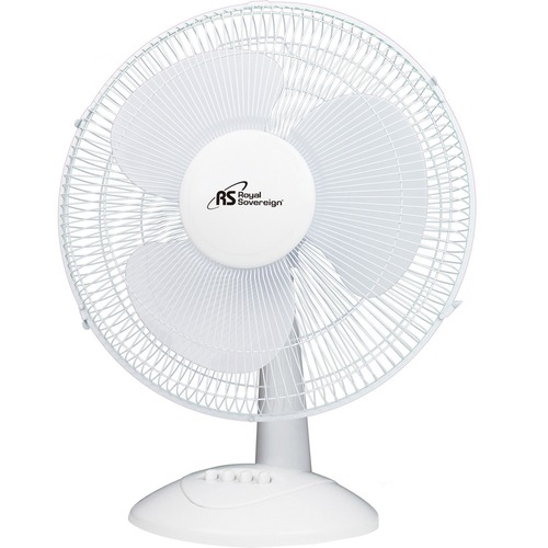 """Royal Sovereign 16"""" Oscillating Desktop Fan - DFN-40B - 16"""" Diameter - 3 Speed - Oscillating, Safety Grill, Adjustable Tilt Head, Quiet Operation, Removable Grill, Durable, Easy to Clean - 20.90"""" (530.86 mm) Height x 16.90"""" (429.26 mm) Width x 11.80"""" (299"""