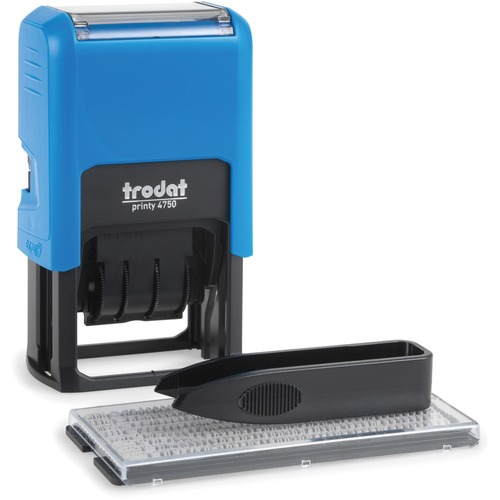 """Printy Self-inking Stamp - Custom Message/Date Stamp - 2 Line(s) - 264 Characters/Line - 1.61"""" (41 mm) Impression Width x 0.94"""" (24 mm) Impression Length - Blue, Red - 1 Each"""