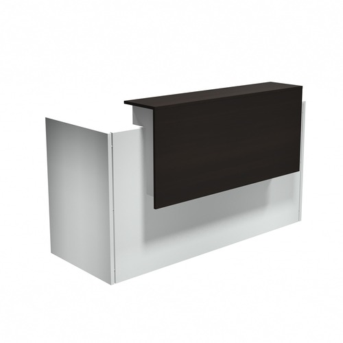 """Heartwood Modern Reception Desk - 71"""" x 29.5"""" x 43.5"""" , 0.1"""" Edge, 1"""" Top - Band Edge - Material: Thermofused Laminate (TFL) Top, Polyvinyl Chloride (PVC) Edge, Polycarbonate Panel, Wood Grain Top, Particleboard - Finish: Evening Zen, White"""