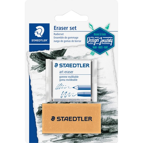 """Staedtler Art Eraser - Gray - Block - 2"""" (50.80 mm) Width x 0.75"""" (19.05 mm) Height x 1"""" (25.40 mm) Depth x - 2 / Set - Smudge-free, PVC-free, Latex-free, Phthalate-free, Absorbent, Soft, Pliable"""