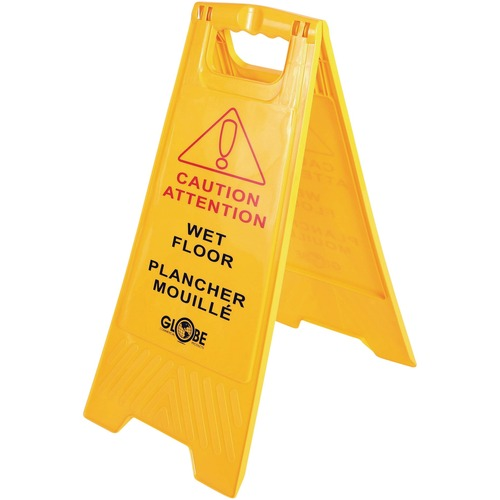 """Globe Wet Floor Sign English/French - 1 Each - Caution Wet Floor Print/Message - 17"""" (431.80 mm) Width x 33"""" (838.20 mm) Height - Rectangular Shape - Foldable, Durable - Plastic - Yellow"""