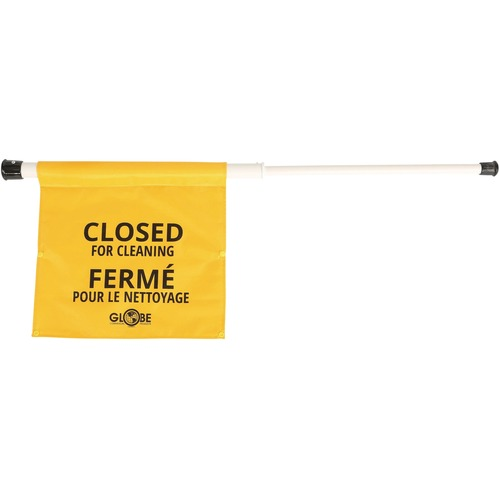"""Globe Closed for Cleaning Sign - English/French - 1 Each - Closed for Cleaning Print/Message - 15"""" (381 mm) Width x 2"""" (50.80 mm) Height - Rectangular Shape - Durable, Easy to Use - Plastic - Yellow"""