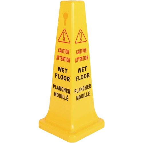 """Globe Wet Floor Sign English/French - 1 Each - 17"""" (431.80 mm) Width x 33"""" (838.20 mm) Height - Rectangular Shape - Foldable, Durable - Plastic - Yellow"""