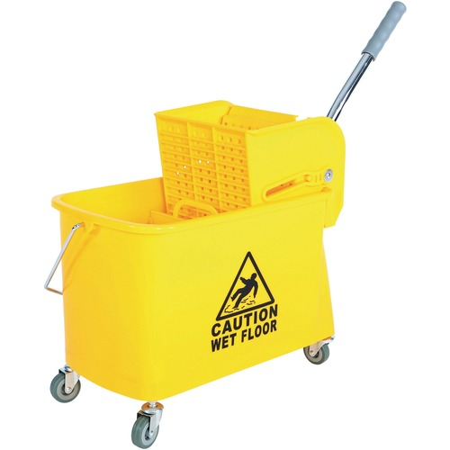 """Globe 21 Qt Sidepress Bucket and Wringer Yellow - 19.87 L - Handle, Compact, Caster, Caution Sign - 26"""" (660.40 mm) x 11"""" (279.40 mm) - Yellow - 1 Each"""