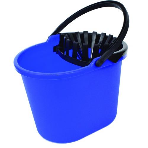"""Globe 13 Qt Mop Bucket with Wringer - 12.30 L - Wringer, Handle - 11"""" (279.40 mm) x 11.50"""" (292.10 mm) - Blue, Black - 1 Each"""