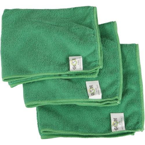 "Globe 16""x16"" Microfiber Cloth 240GSM Green - Cloth - 16"" (406.40 mm) Width x 16"" (406.40 mm) Length - 10 / Pack - Green"