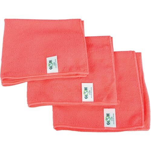 "Globe 16""x16"" Microfiber Cloth 240GSM Red - Cloth - 16"" (406.40 mm) Width x 16"" (406.40 mm) Length - 10 / Pack - Red"