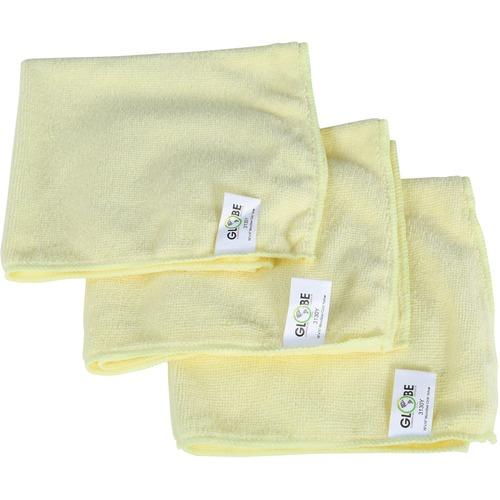 "Globe 16""x16"" Microfiber Cloth 240GSM Yellow - Cloth - 16"" (406.40 mm) Width x 16"" (406.40 mm) Length - 10 / Pack - Yellow"