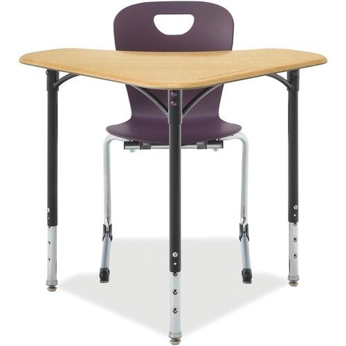 "ALUMNI Boomerang-Desk - 28"" x 28"" x 36"" - Material: Polyvinyl Chloride (PVC) Edge, Nylon Glide, Hard Plastic Top, Steel Leg - Finish: Sugar Maple Top, Powder Coated Black Leg, Laminate Top"