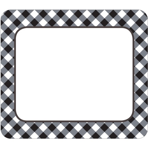 """Carson Dellosa Education Black & White Gingham Name Tags - Learning, Fun Theme/Subject - Gingham Border - Self-adhesive - 2.50"""" (63.5 mm) Width x 3"""" (76.2 mm) Length - Black/White - 40 / Pack"""