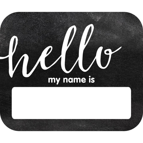 """Schoolgirl Style Hello Name Tags - Industrial Chic Theme/Subject - Hello, my name is - Self-adhesive - 2.50"""" (63.5 mm) Width x 3"""" (76.2 mm) Length - 40 / Pack"""