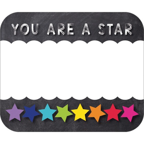 """Schoolgirl Style You Are a STAR Name Tags - Twinkle Twinkle You're A STAR!, Star Theme/Subject - You Are a STAR, Rainbow Star Border - Self-adhesive - 2.50"""" (63.5 mm) Width x 3"""" (76.2 mm) Length - 40 / Pack"""